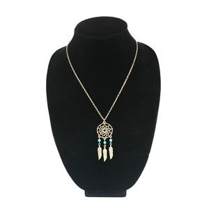 Jewelry - Gold dreamcatcher necklace w/ turquoise beads